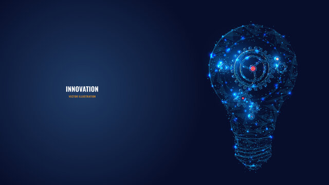 Abstract light bulb with gears inside. Innovation, creativity, business technology idea concept in dark blue. Digital vector wireframe looks like starry sky. Low poly glowing mesh with connected dots