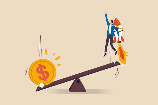 Economic stimulus money, central bank inject money to boost business and recover from Coronavirus COVID-19 crisis, big money dollar coin fall on seesaw to boost other side businessman with rocket.