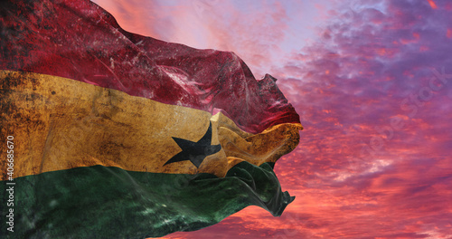 retro flag of Ghana with grunge texture