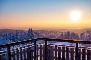 Wieżyca kaszuby zima śnieg zachód słońca