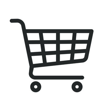 Shopping cart icon symbol. Flat shape trolley web store button. Online shop logo sign. Vector illustration image. Black silhouette isolated on white background.