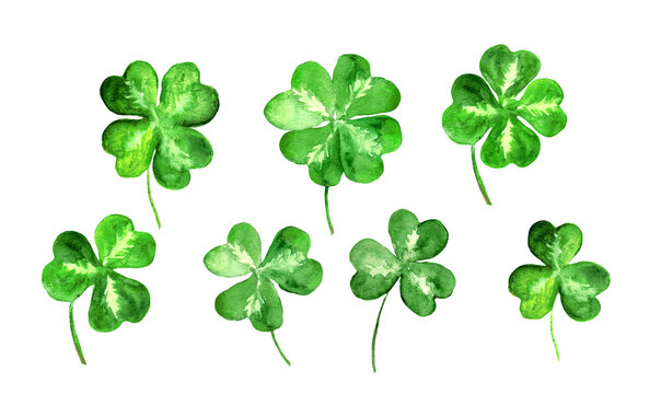 Set of trefoil, clover leaves with 3, 4 four leaf. Watercolor collection for St Patrick day. Celtic, irish symbol of luck
