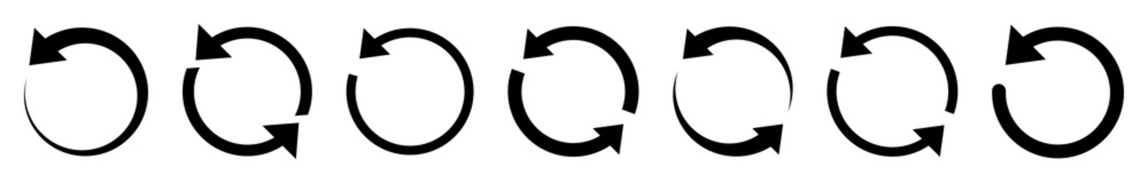 Arrow rotate icons set. Rotation black circle. Collection two cycle arrow. Modern flat simple arrows isolated. Reset signs. Arrows vector graphic elements.