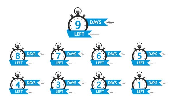 Day left countdown banners. Go time of sale. Countdown of days left offer from 10 to 1. Badges and stickers for special limited offer. Set of promotion design template. Labels for discount. Vector