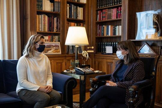 Greek President Katerina Sakellaropoulou meets with Olympic sailing champion Sofia Bekatorou in Athens