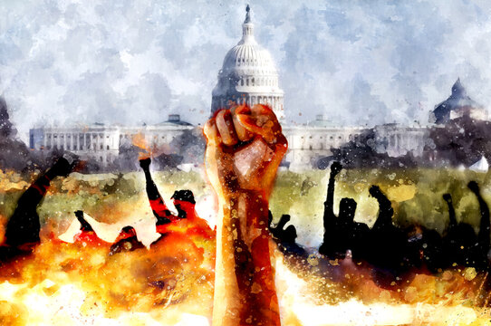 Fist up against the background of the US Capitol. Protest watercolor illustration. Fight for justice, a symbol of freedom. Conflict with the government, riots in the streets.