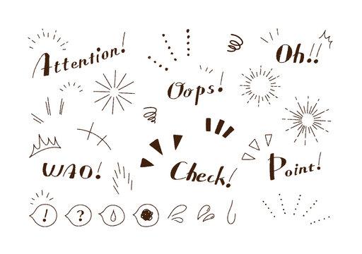 手描き マーク ざらざら 鉛筆 記号 気づき 注目 アイコン フォント セット/大人かわいい ゆるい 素材