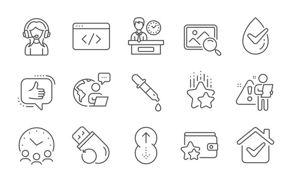 Meeting time, Dermatologically tested and Presentation time line icons set. Support, Search photo and Like signs. Swipe up, Seo script and Chemistry pipette symbols. Line icons set. Vector