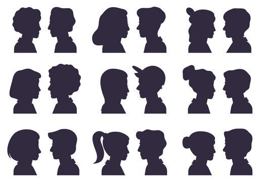 Face profile silhouettes. Male and female heads silhouettes, woman and man avatar portraits flat vector illustration set. People anonymous face silhouette with different hairstyle and caps
