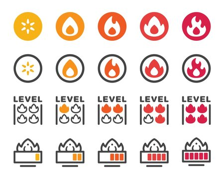 fire level icon set,vector and illustration