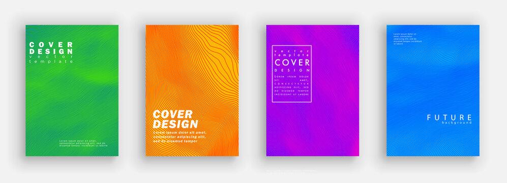 Minimal covers design. Colorfu line set. Color halftone gradients.