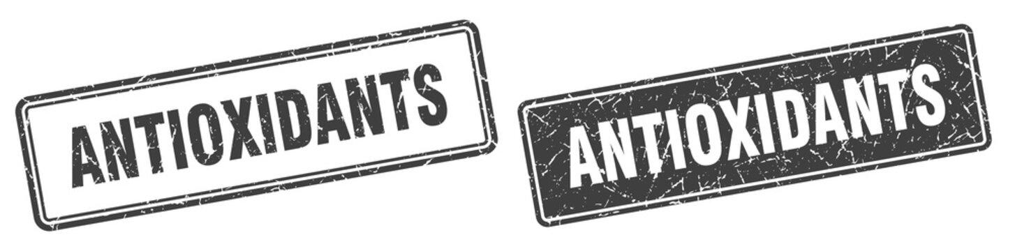 antioxidants stamp set. antioxidants square grunge sign