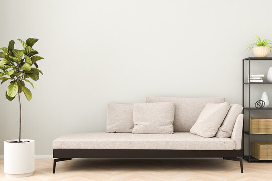 Chaiselongue style sofa in an apartment with a figue tree and a shelf. 3d render.