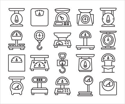 weight scale icon set line vector illustration