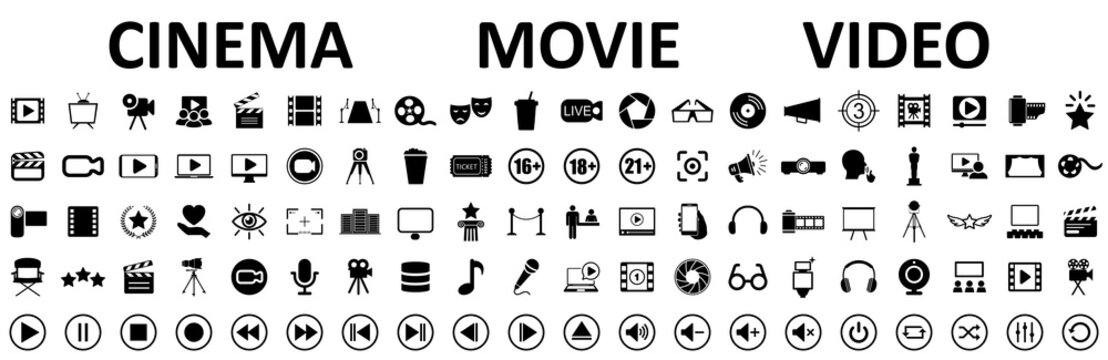 Set of 100 cinema, movie, video icons, collection film, tv sign - stock vector