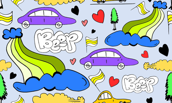 Cartoon Transportation Background for Kids with doodle Toy Cars and Nature with beep text ,cloud,rainbow and Trees.