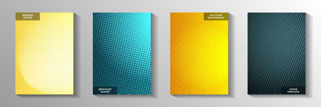 Minimalist dot screen tone gradation front page templates vector kit. Corporate flyer faded screen