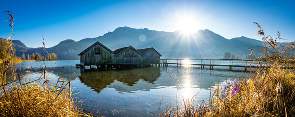 old hut at the kochel lake - bavaria