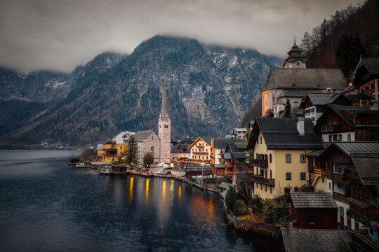 Dusk in Hallstatt, Austria, taken in December 2020