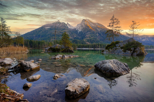 Hinter-See in southern Bavaria, Germany, taken in December 2020