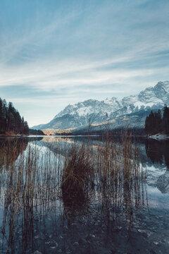 Eibsee in Southern Bavaria, Germany, taken in December 2020