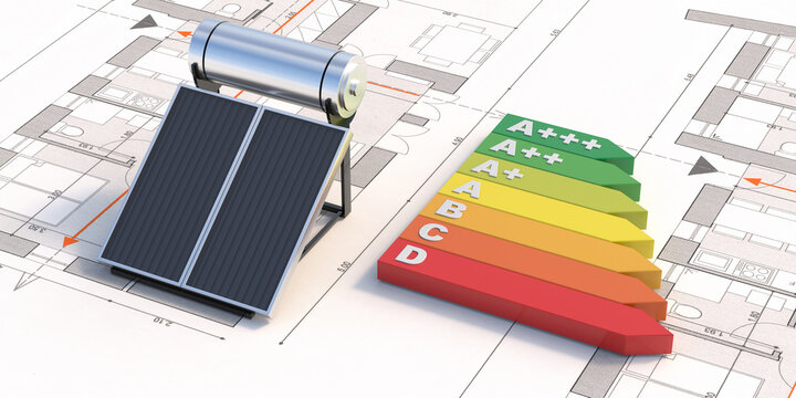 Solar water heater and energy efficiency on project drawings. 3d illustration