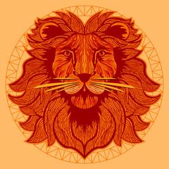 Ornamentalny lew na jasnym tle