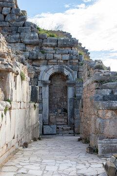 Ancient door and ruins in Ephesus Turkey