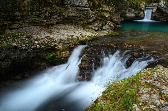 View of the Kouiassa waterfall at the Tzoumerka mountains in Epirus, Greece