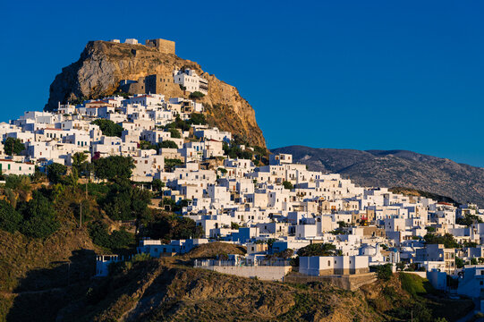 Distant view of Skyros town or Chora, the capital of Skyros island in Greece at sunset