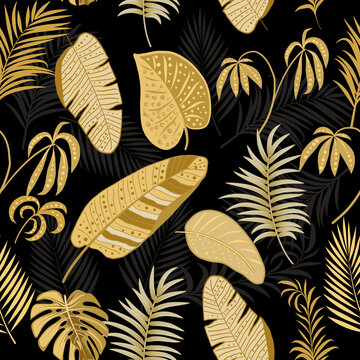 Tropical vector seamless pattern with  gold leaves of palm tree and flowers