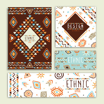 Ethnic tribal art hand drawn card collection