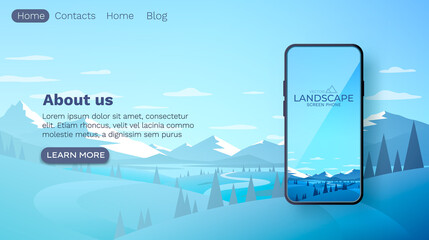 Winter mountains landscape. Smartphone mobile screen, landscape mobile display. Nature background. Vector