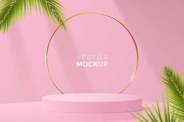 3d round podium mockup in pink color. Empty light scene with blank podium, golden frame and green tropical leaves around. Ideal for cosmetic, packaging and other product presentation. Vector eps 10 - fototapety na wymiar