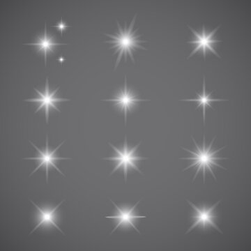 Lights effect set isolated on gray background. Collection of various sparkle effect for backdrop and wallpaper. Light effect vector illustration