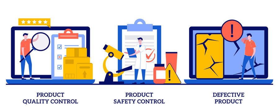 Product quality, safety control, defective product concept with tiny people. Product manufacturing abstract vector illustration set. Customer feedback, inspection, warranty certificate metaphor