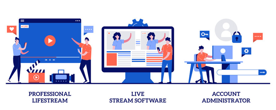 Professional livestream, live stream software, account administrator concept with tiny people. Broadcasting service abstract vector illustration set. Online event stream manager metaphor