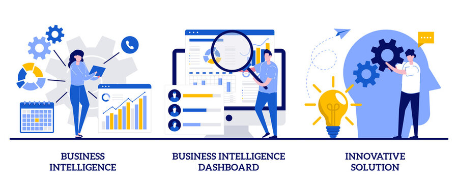Business intelligence, intelligence dashboard, innovative solution concept with tiny people. Performance tools and software solutions abstract vector illustration set. Data analysis, KPI metaphor
