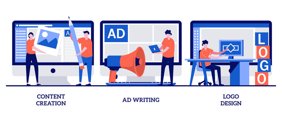 Content creation, ad writing, logo design concept with tiny people. Digital marketing copywriting abstract vector illustration set. Blog post, viral social media, company website, client metaphor