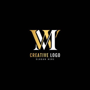 WM MW Combination text logotype. Minimalist letter concept. Typography for Company and Business Logo.