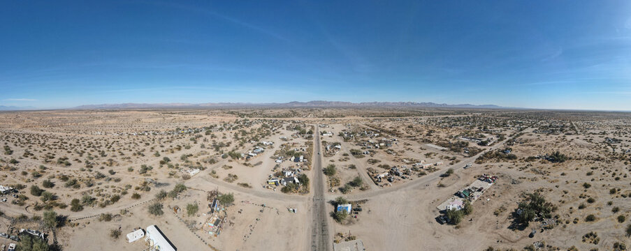aerial view of Slab City, an unincorporated, off-the-grid squatter community consisting largely of snowbirds in the Salton Trough area of the Sonoran Desert, California, USA. January 16th, 2020