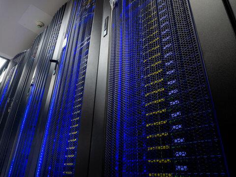 Server room data center. Backup, mining, hosting, mainframe