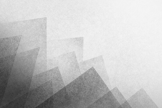 Abstract black background with white haze and geometric triangle shape pattern on border, textured layers in detailed elegant layout