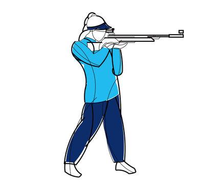 Athlete sports bullet shooting. Stylish vector graphics. Linear geometric design