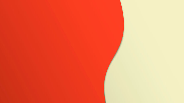Abstract two-color background with a wavy transition between colors. Vector background with realistic shadow between layers.