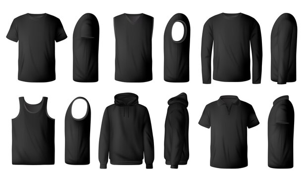 Mens black t-shirt, pullover and hoodie realistic mockup. Polo collar and crew neck t-shirts, singlet, sleeveless pullover and sweatshirt front, side view 3d vector. Modern men casual clothing mock-up