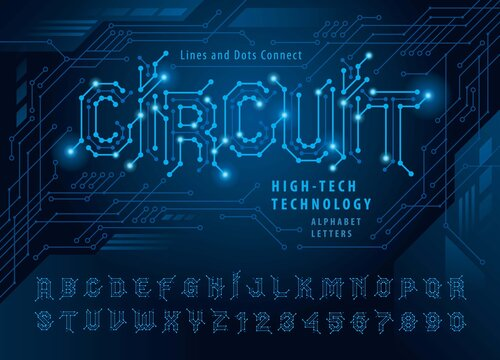 Vector of Circuit Alphabet Letters and numbers, Network Connecting dot polygon