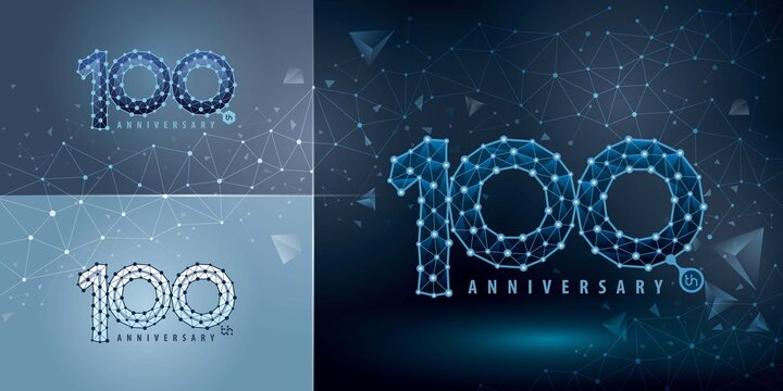 Set of 100th Anniversary logotype design, Hundred years Celebrating Anniversary Logo