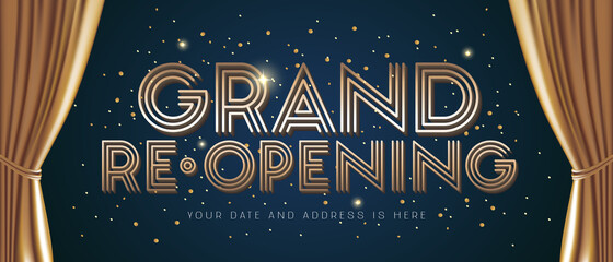 Fototapeta Grand opening and re-opening vector illustration, background for new store obraz