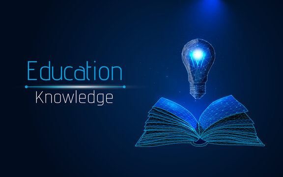 the concept of learning, learning new, development. open book and light bulb symbol of idea, mind and learning. learning new things. isolated on blue background. wireframe, vector illustration. dots